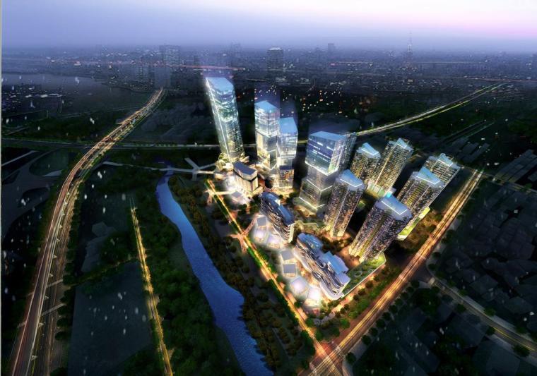 超高层独栋式散点商业办公综合体建筑效果图