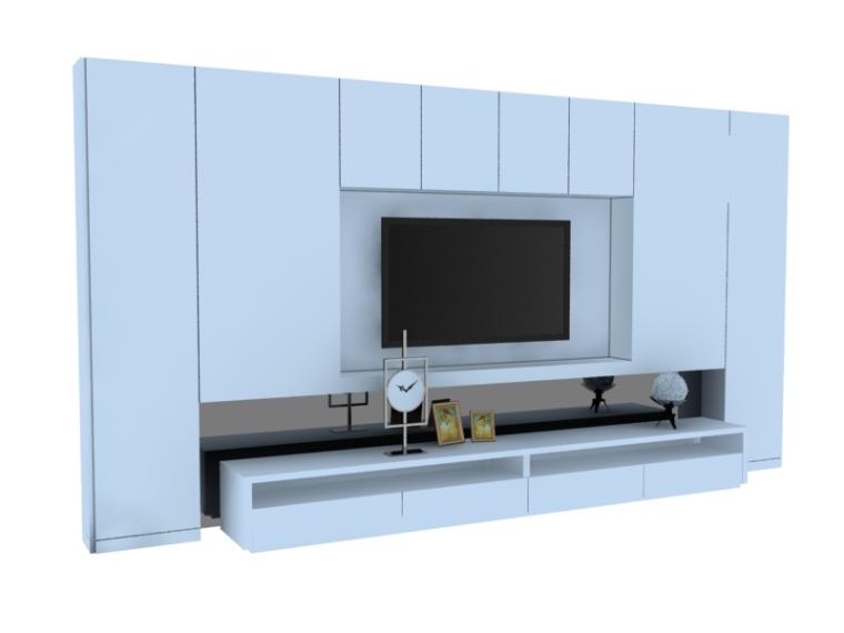 简约电视墙3D模型下载