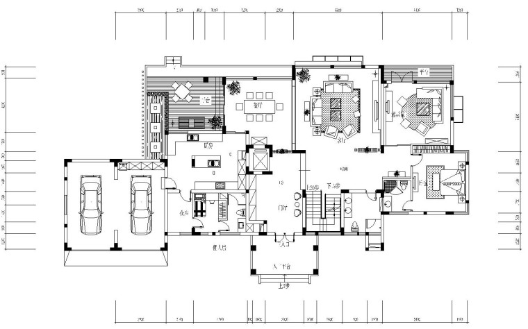 1200㎡大型豪宅内部装修全套施工图设计(附高清效果图)图片