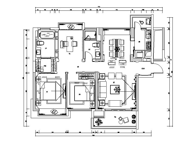 古典风格三居室住宅设计施工图(附效果图+模型)
