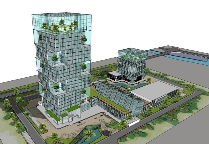 现代风格高层办公绿色建筑设计方案sketchup模型