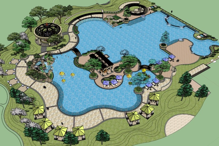 小公园休闲景观设计(SU模型)