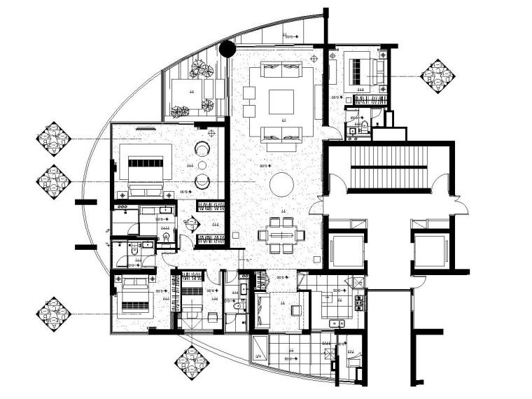 后现代风格私人公馆内部装修施工图(附实景照片)