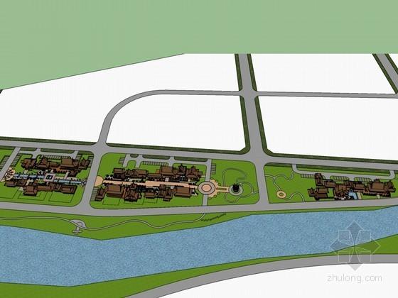 傣族风格旅游街SketchUp模型下载
