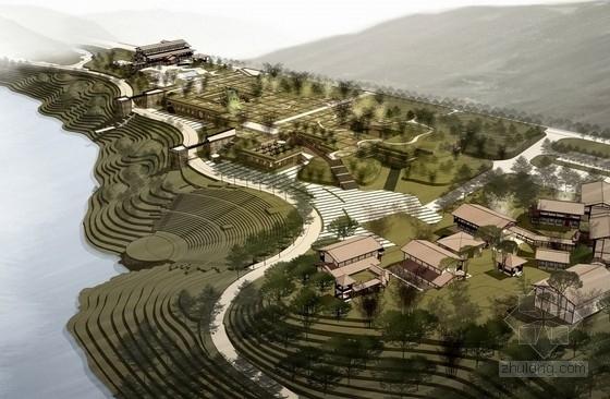 [福建]美轮美奂有机茶博园景观规划设计方案-鸟瞰图