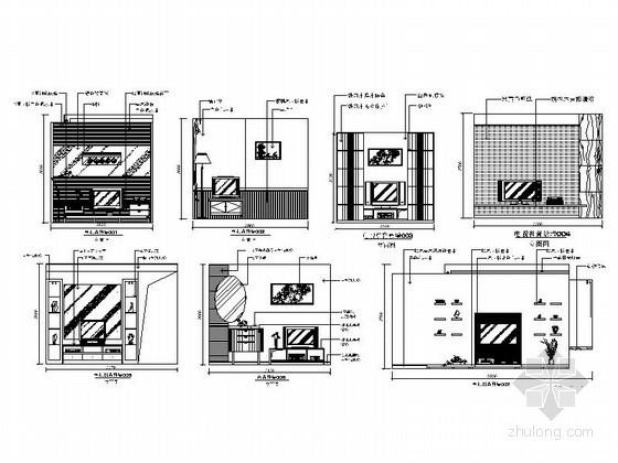 现代时尚电视背景墙CAD立面图块下载