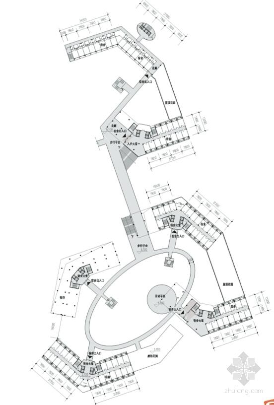 现代知名高校学生公寓平面图