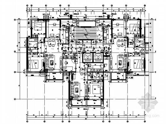 高层住宅一梯三户型平面图