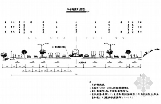 [安徽]道路红线70米宽城市主干路工程设计套图(272页 道路 交通工程)