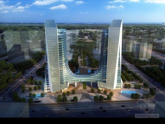 [温州]25层框架核心筒结构双塔钢连廊商务办公楼结构施工图(含建筑图)