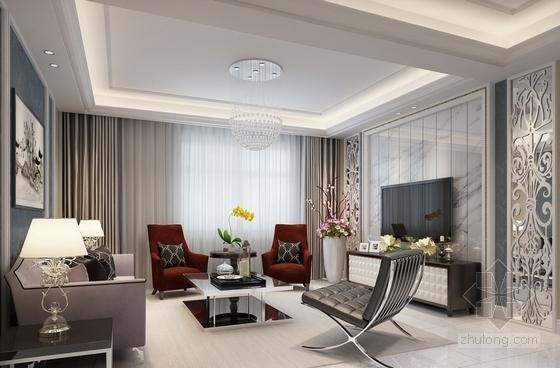名师设计简欧风情跃层样板间CAD装修施工图(含效果)客厅效果图