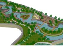 滨湖公园景观SU模型(高差处理,桥,廊架)
