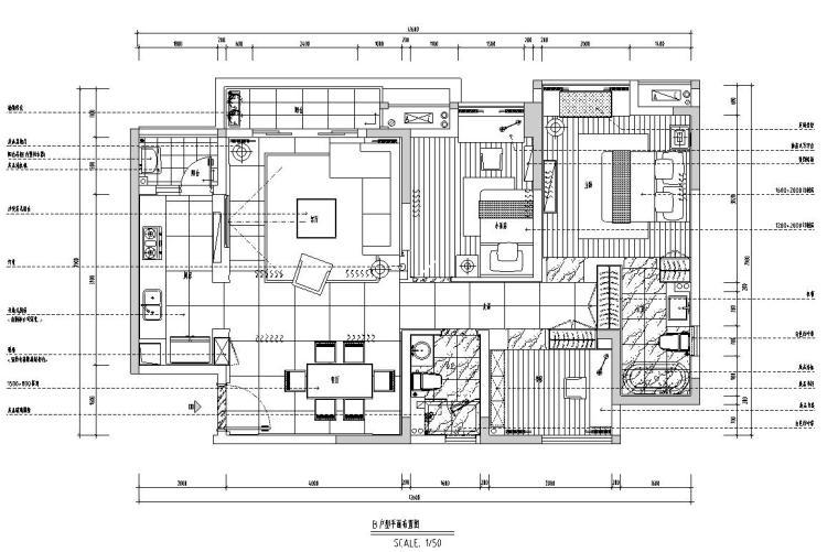 丽景紫园B户型现代风格效果图-施工图设计