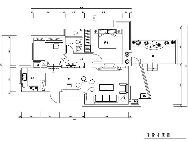 [江苏]常熟城市花园三居室住宅设计施工图(附效果图)