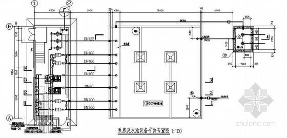 500m³室外消防水池施工图(泵房)