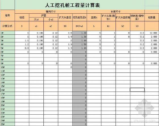 人工挖孔桩工程量计算表(EXCEL)