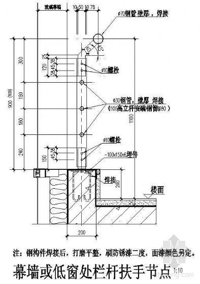 幕墙或低窗处栏杆扶手节点