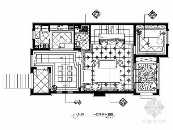 精品豪华欧式风格三层别墅室内装修施工图(含方案效果图)