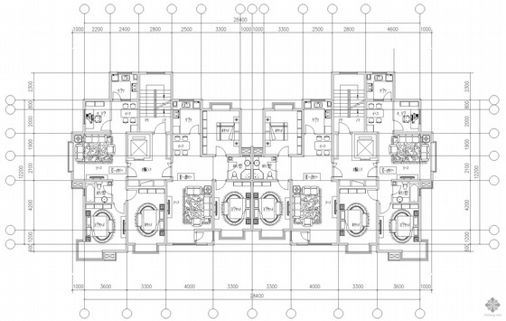 板式高层一梯二户户型图(98/98)