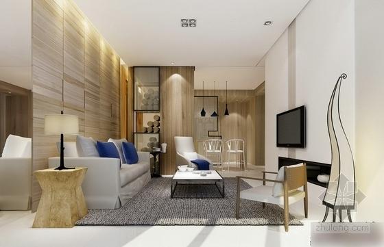 [杭州]现代简约三居室样板间装修图(含效果)客厅效果图