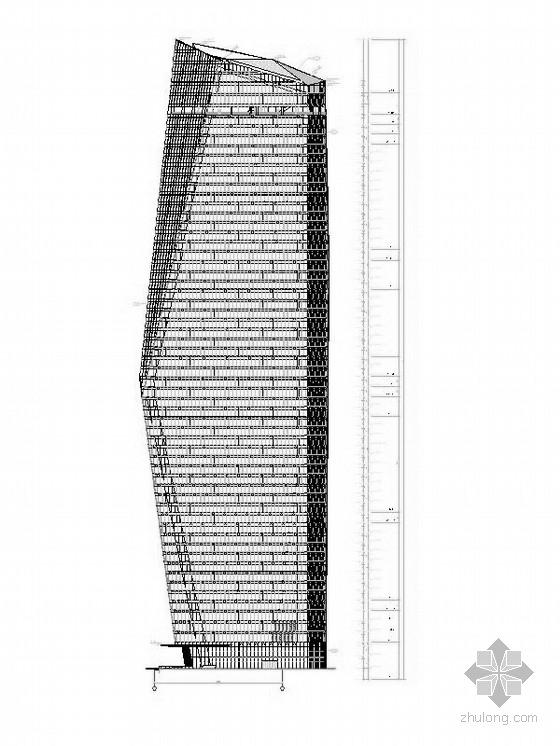 超高层核心筒结构塔楼办公大厦建筑立面图