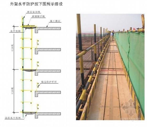 [贵州]塔楼外框筒钢管落地脚手架施工方案(悬挑防护棚)