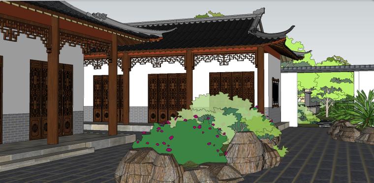 中式古建园林会所院落模型(su模型)-8
