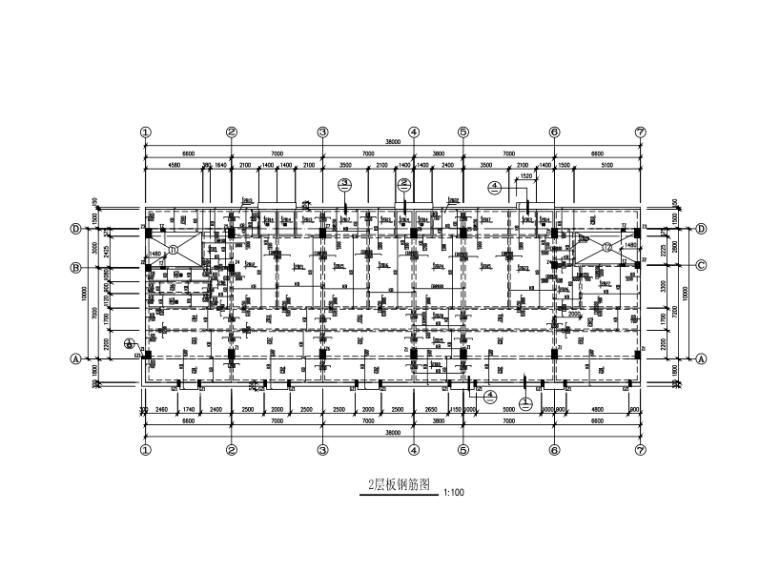四层框架结构办公楼结构施工图(CAD、14张)