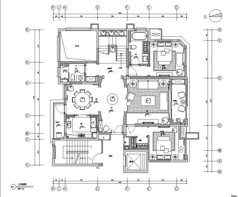 [安徽]华地紫园项目12号楼1101户型样板房室内施工图设计(cad+JPG)