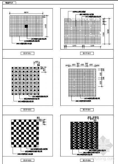 六种园路铺装样式平面图