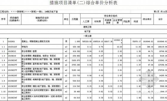 [福建]2013年某小区1、2#楼及地下室工程量清单预算(编制说明+人材机综合单价)