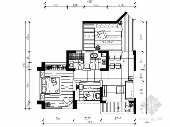 [武汉]高层住宅区时尚现代两居室样板间装修施工图(含效果)