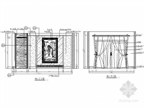 [苏州]风景秀丽生态园区A2型欧式风情三层别墅装修施工图偏厅立面图