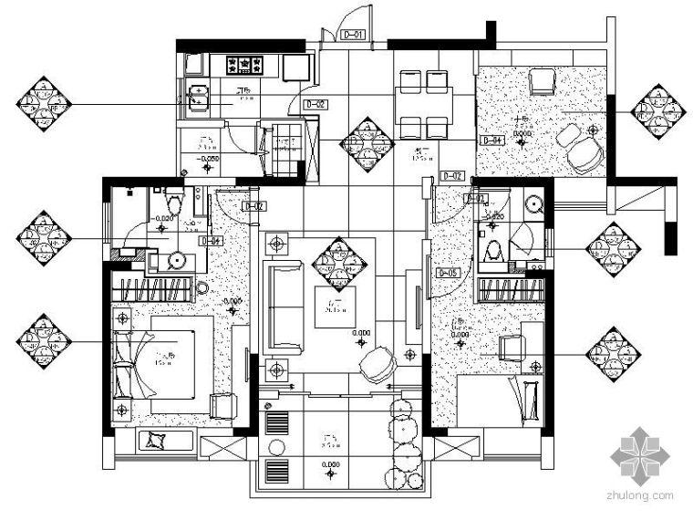 [重庆]三室两厅样板房施工图(含材料表)