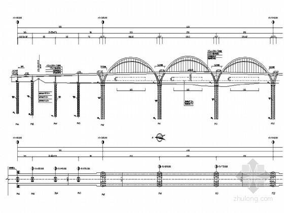 三孔结合梁-钢拱组合体系拱桥拼装支架专项方案(附CAD)