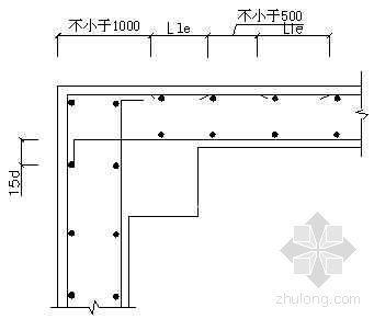 转角柱处墙体水平筋作法示意图