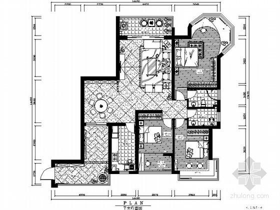 欧式古典三居室内装修图(含效果)