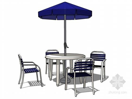 户外休闲桌椅SketchUp模型下载