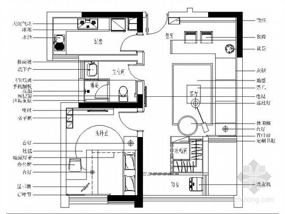 [常州]现代风格一居室样板间装修图(含方案)