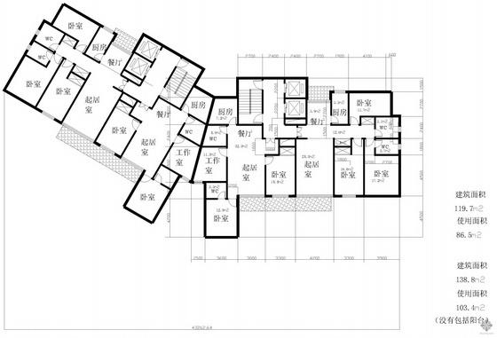 塔式高层一梯二户有工作室户型图(120/87)