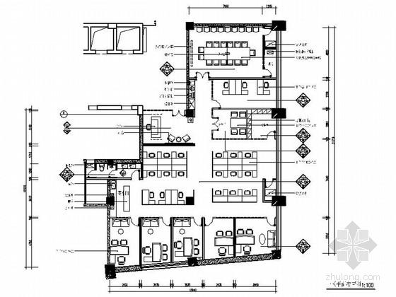 [四川]时尚现代高档办公室室内装修施工图(含效果)