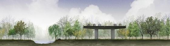 [上海]国际级体育中心景观方案概念规划(著名设计公司)-道路剖面图