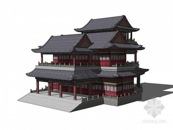 古建筑戏台sketchup模型下载