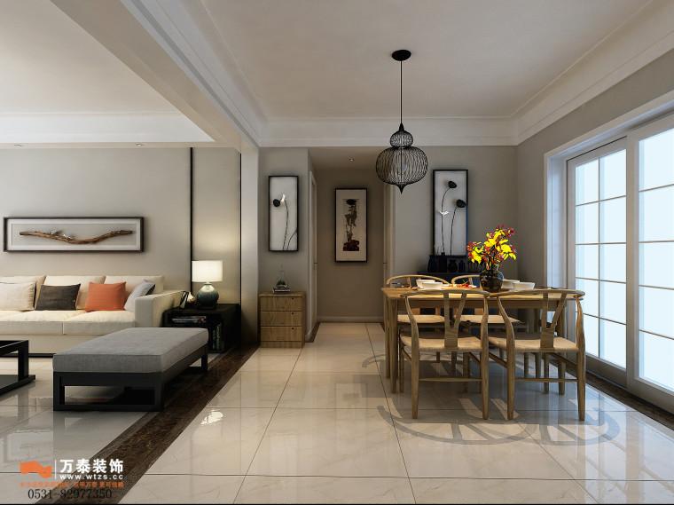 领秀公馆120平三室两厅装修,新中式风格真的很漂亮-餐厅.jpg