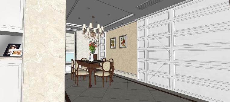 室内设计简欧风格客餐厅SU模型-10.餐厅