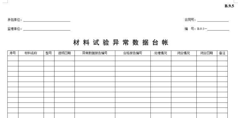[B类表格]材料试验异常数据台帐