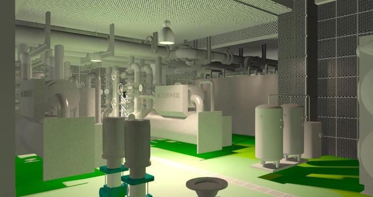 BIM模型-revit模型-机电房模型带有机电设备