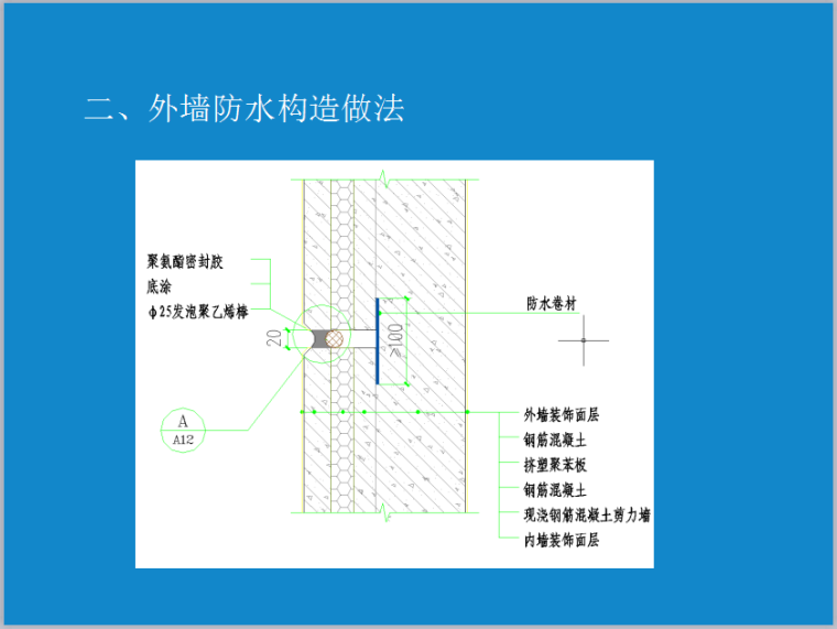 建筑防水节点介绍-外墙防水构造做法