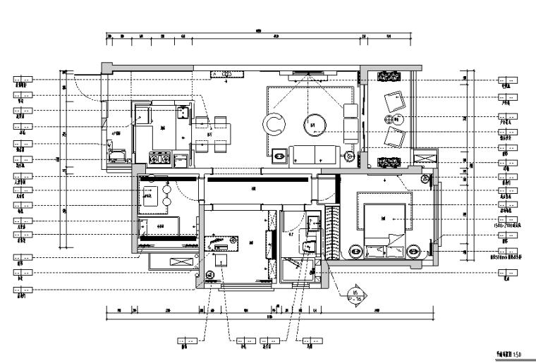 白色简约样板房设计施工图(附效果图)