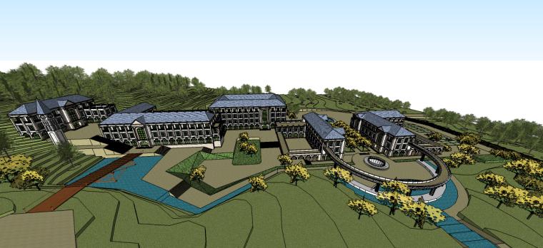 欧式景观桥设计详图资料下载-欧式风格酒店su模型(建筑及景观)